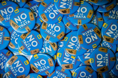 "Badges that read ""No to trafficking,"" which were distributed at a conference on human trafficking that was organized by the city of Buenos Aires."